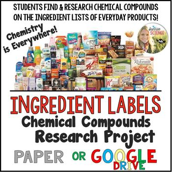 Ingredient Labels of Everyday Products Chemical Compounds