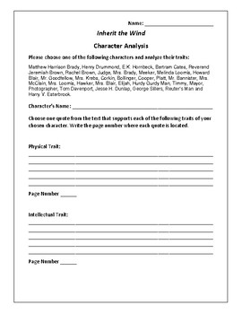 Inherit the Wind - Character Analysis Activity - Lawrence