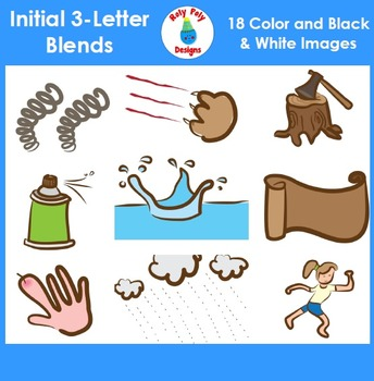3-Letter Consonant Blend Phonics Clip Art Set 1