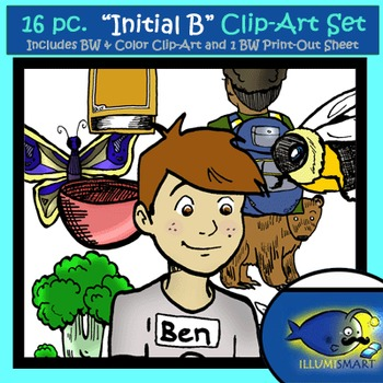 "Initial ""B"" Kindergarten Clip-Art! 8 BW, 8 Color, 1 Cut-Out Sheet"