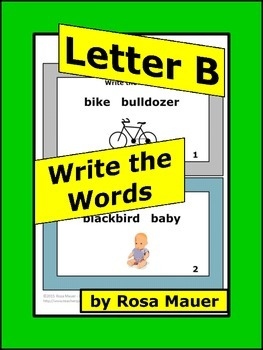 Initial B Words Task Cards