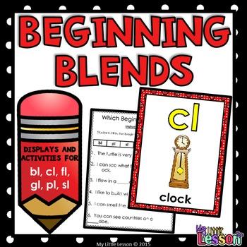 Beginning Blends Worksheets - bl, cl, fl, gl, pl, sl
