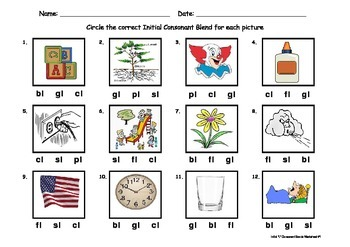 Initial Consonant Blends Worksheet - 2 letter blends conta