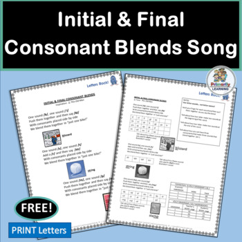 FREE! Consonant Blends Song complete with chart and mp3!