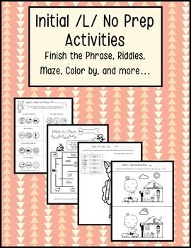 Initial /L/ Articulation No Prep Worksheets, Activities, P