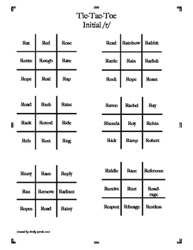 Initial R Tic-Tac-Toe over 50 words