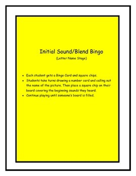 Initial Sound Bingo Game - Letter Name Stage