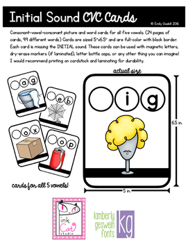 Initial Sound CVC Picture Word Cards (all 5 vowel sounds)