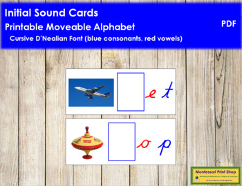 Initial Sound Cards for Printable Moveable Alphabet CURSIV