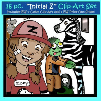 "Initial ""Z"" Kindergarten Clip-Art! 8 BW, 8 Color, 1 Cut-Out Sheet"