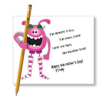 Ink Save Monster Valentine Pencil Holder