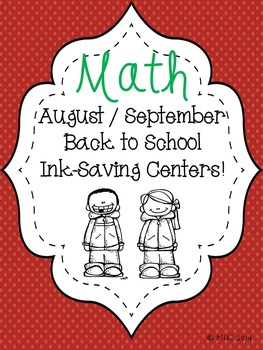 Ink Saving Back to School Math Centers
