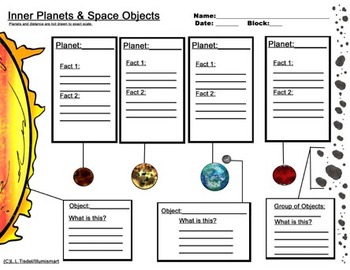 Inner and Outer Planet Worksheets...Bonus: 4 Piece Clip-Ar