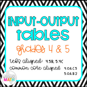 Input-Output Tables Task Cards (GRADE 4 & 5)