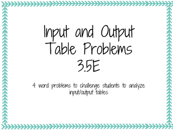 Input and Output Tables 3.5E