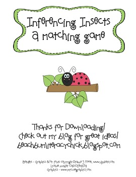 Insect Inferencing Matching Activity