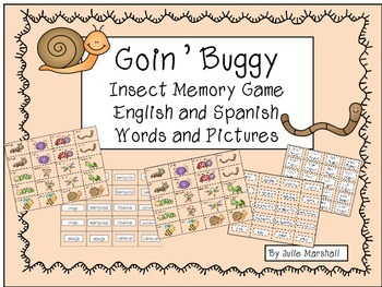 Insect Memory Game in English and Spanish
