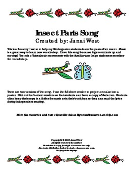 Insect Parts Science Song