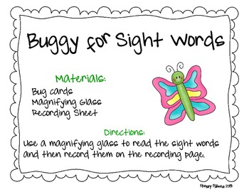 Insect Sight Word Center Game