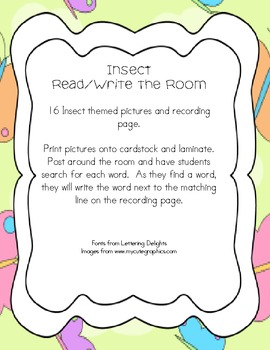 Insect/Bug Themed Read and Write the Room