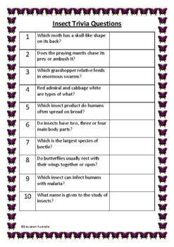 Insect Trivia Questions / Quiz - 30 Questions With Answers