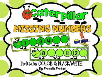 Insects- Caterpillar-Missing Numbers- Fill in the Missing