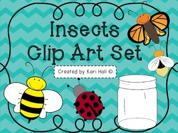 Insects Clip Art set!: Bee, Butterfly, Firefly, Ladybug, J