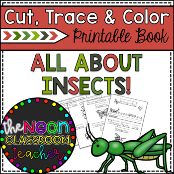 """Insects"" Cut, Trace & Color Printable Book!"