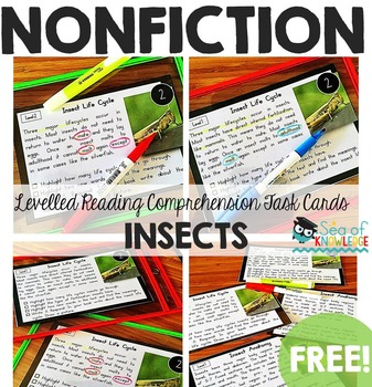 Insects Nonfiction Reading Comprehension Task Cards
