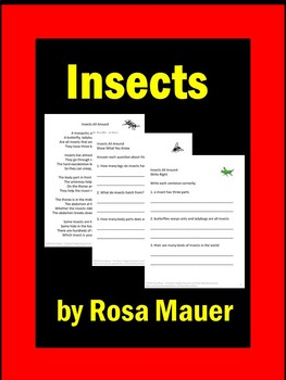 Insects Poem and Literacy Packet