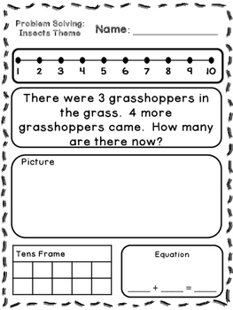 Insects Theme Addition & Subtraction Word Problems (Kinder