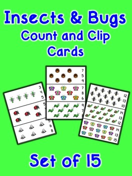 Insects and Bugs Count and Clip Cards - Set of 15