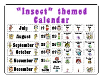 """Insects"" themed Calendar Set"