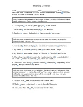 Inserting Commas Activity Worksheet for Critical Thinkers