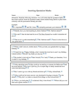Inserting Quotation Marks Activity Worksheet for Critical