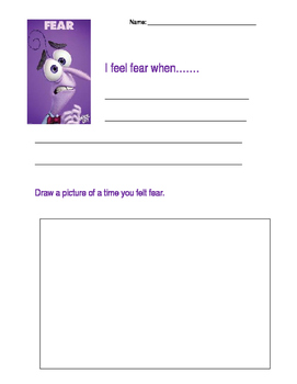 Inside Out Fear writing activity