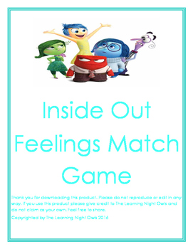 Inside Out Feelings Matching Game