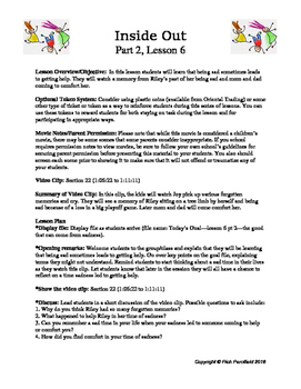 Inside Out Lessons 16-20 (Social-Emotional Lessons)
