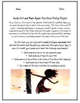 Inside Out and Back Again Free Verse Poetry Assignment