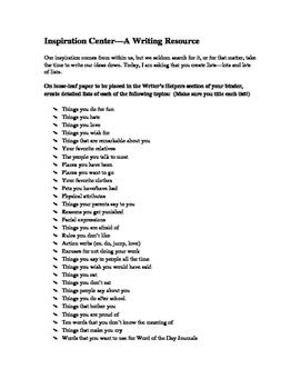 Inspiration Center: Writing Lists