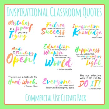 Inspirational Classroom Quotes Typography Clip Art Set for
