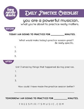 Inspirational Music Practice Checklist