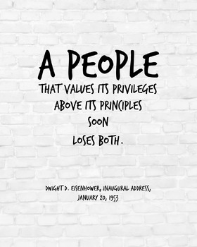 """Inspirational Poster, """"A people that values its privileges"""