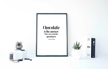 """Inspirational Poster """"Chocolate is the answer.""""-Words of Wisdom-"""