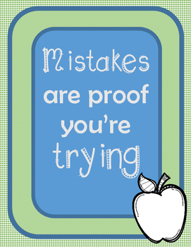 "Inspirational Poster - ""Mistakes are Proof You're Trying"""