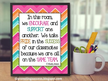 teamwork quote poster chevron classroom decor