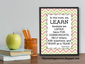 Classroom Rules Poster Teamwork Quote Chevron Decor Teache