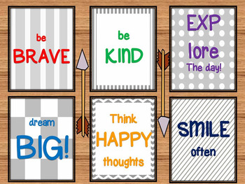Inspirational Poster set Be Kind Be Brave Explore