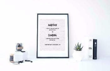 "Inspirational Poster,""Ambition often puts men"" -onathan Swift-"