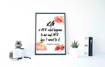 """Inspirational Poster""""Life is 10% what happens to me and 90"""